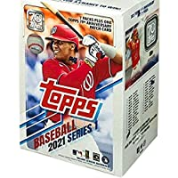 $37 » 2021 Topps Series 1 Baseball Factory Sealed Blaster Box 7 Packs of 14 Cards plus 1 70th Anniversary Patch Card. MASSIVE 99 Cards,…