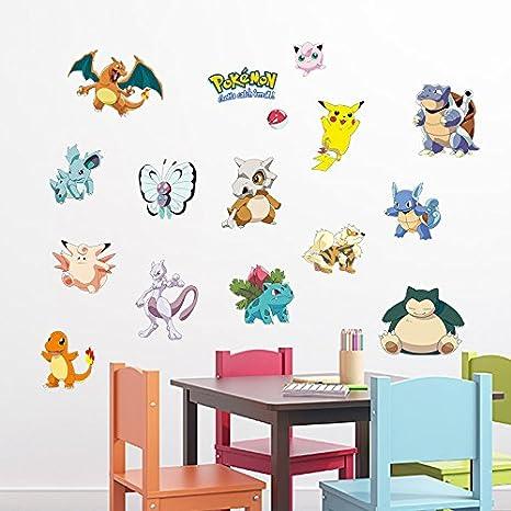 Kibi Stickers Muraux Pok/émon Pikachu Autocollant Mural pour Chambre Enfants B/éb/é D/écoration Murale Pok/émon Pikachu Peel et Stick Stickers Muraux Autocollant Pokemon Sticker Mural Pokemon 3D