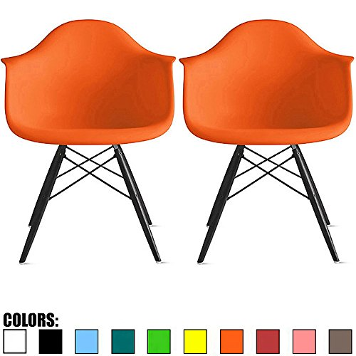 Cheap 2xhome Set of 2 Orange Mid Century Modern Designer Contemporary Vintage Office Chairs Dining No Wheels Living Kitchen Guest with Arms Armchairs Solid Back Accent Plastic Dark Black Wood Legs DAW