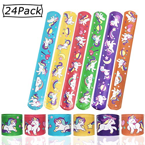 Unicorn Slap Bracelet - Slap Bracelet - Birthday Party Favors Carnival Prizes Kids Adults/ Carnival Classroom Gifts Toys/Fashion Accessories/Goodie Bag Fillers / Gift for Christmas [24 Pcs]