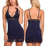ADOME Women's Full Slip Modal Sleepwear Strap Nightgown V Neck Chemise Lace Lingerie