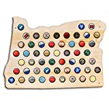 Oregon Beer Cap Map - Holds Craft Beer Bottle Caps - Perfect gift for guys dads brothers and grads - Display all of the best OR or Pacific Northwest beers
