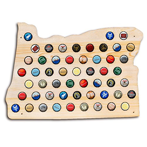 Oregon Beer - Oregon Beer Cap Map - Holds Craft Beer Bottle Caps - Perfect gift for guys dads brothers and grads - Display all of the best OR or Pacific Northwest beers
