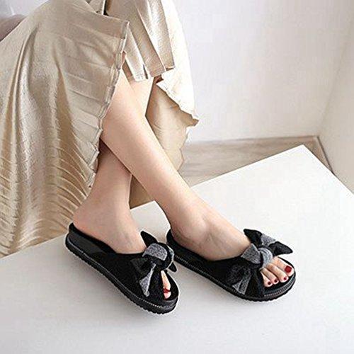 Dérapant Confort Piscine Plage Glitter Plat Argent Glissières Noir Noir Pantoufles Anti D'été Bowknot Femmes Sandales 4aq0wq