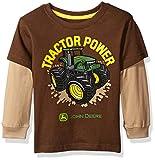 John Deere Little Boys' Toddler Tractor Power Tee, Brown/Khaki, 2T