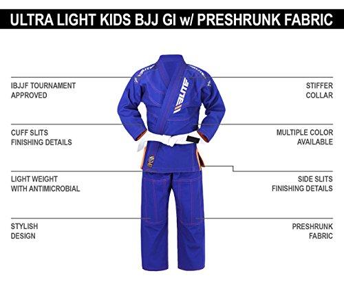 Elite Sports IBJJF Ultra Light BJJ Brazilian Jiu Jitsu Gi For Kids w/  Preshrunk Fabric & Free Belt