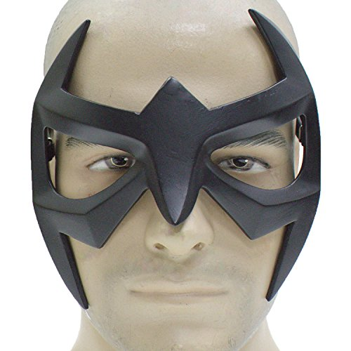 Costumes For Comic Cool Con (Nightwing Mask Superhero Black Resin Eye Mask Strap Grayson Cosplay Masquerade)
