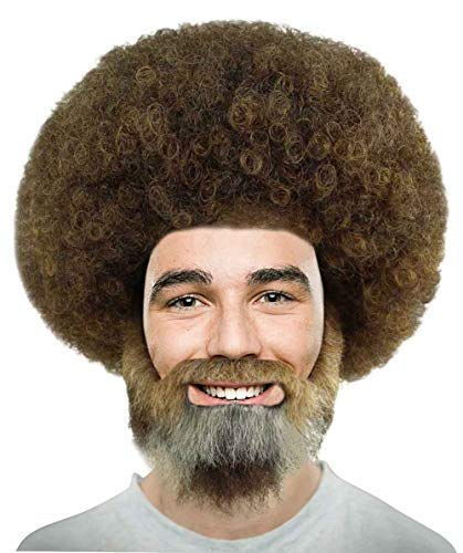 Halloween Party Online 80's Painter Afro Wig with Full Beard and Mustache Set, (Kids) -