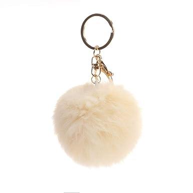 Amazon.com: Llavero de pelota de piel de conejo, llavero con ...