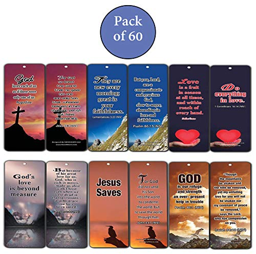 Popular Bible Verses About God's Love Bookmarks Cards (60-Pack) - Assorted Bulk Pack - John 3:16 Psalm 46:1 - Gift Ideas for Sunday School, Youth Group, Church Camp, Bible Study, Baptism, Homeschool by NewEights (Image #2)
