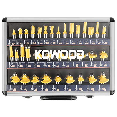 KOWOOD Router Bits Sets of 35B Pieces 1/2 Inch T Shape Wood Milling Cutter