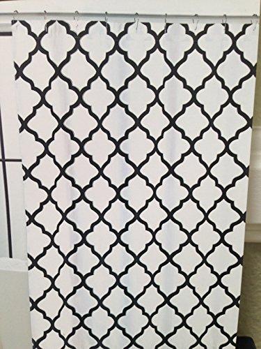 Max Studio Lattice Quatrefoil Fabric Shower Curtain Black &