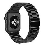 Simpeak Stainless Steel Band Strap Compatible Apple Watch 38mm 40mm Series 1 Series 2 Series 3 Apple Watch 4 - Bright Black