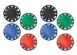 Beistle 54923 8 Piece Glittered Foil Poker Chip Cutouts, 12.25'', Multicolor