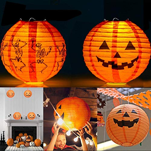 UNEEDE Halloween Paper Lantern Halloween Party Lantern with Led Light 2 Pack Halloween Hanging Lanterns Decorative, Halloween Jack-O-Lanterns for Home Outdoor Yard Party Deco]()