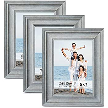 LaVie Home 5x7 Picture Frames (3 Pack, Light Gray Wood Grain) Rustic Photo Frame Set with High Definition Glass for Wall Mount & Table Top Display, Set of 3 Elite Collection