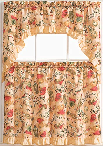 Golden Rugs Vegtables 3pc Kitchen Curtain and Valance Set/1 Swag Valance and 2 Tiers,2 Tiers Width 30