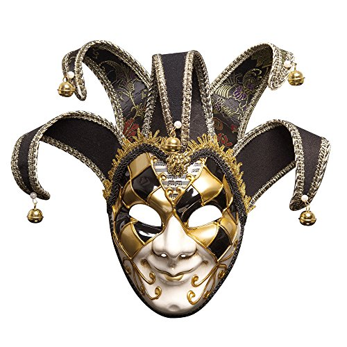 HaiYC Full Face Mask, 1Pc Painted Halloween Dance Party Mask Upscale Venice Men Performing Mask,6.3 x 17 inches (Men -