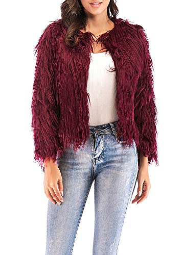 Anself Women's Shaggy Faux Fur Coat Solid Color Long Sleeve Short Jacket Burgundy