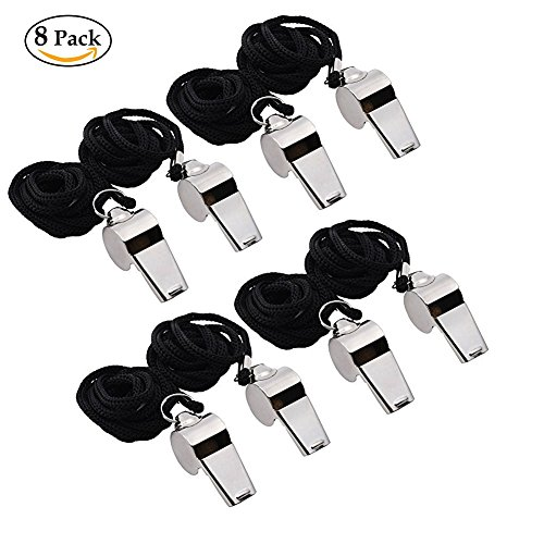 Golvery Metal Referee, Coach Whistle - Stainless Steel - Extra Loud Whistle with Lanyard for School Sports, Soccer, Football, Basketball and Lifeguard Protection - 8 of (Devil Horms)