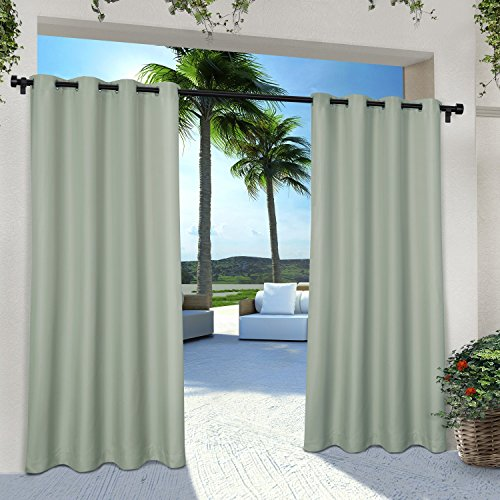 Exclusive Home Curtains Indoor/Outdoor Solid Cabana Grommet Top Window Curtain Panel Pair, Sea Foam, 54x96 Top Window Panel