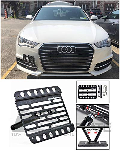 Extreme Online Store for 2012-Present Audi A6 | EOS Plate Version 1 Front Bumper Tow Hook License Relocator Mount Bracket Tow-203 (Mid Size)