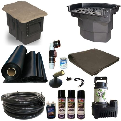 Half Off Ponds' LH0 - 20 ft x 30 ft Large Hybrid Pond Kit w/ 5,500 GPH Pump, Big Bahama 26 Inch Waterfall, & PondBuilder Skimmer (Gph 5500 Pump Waterfall)