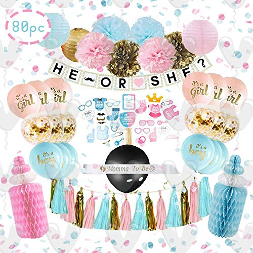 Valuri Creations Gender Reveal Party Supplies - (80 Pieces) with Photo Props, 36 Inch Reveal Ballon and Sash - Premium Baby Shower Decorations Set - Confetti Balloons, Boy or Girl Banner, Pom Poms, Paper Lanterns -