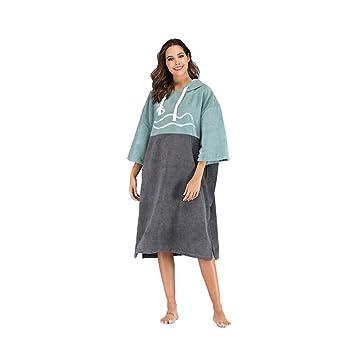 Traje de cambio de toalla Poncho Adulto Unisex Microfibra Batas Toalla Poncho Capucha Azul-verde