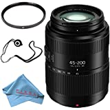 Panasonic Lumix G Vario 45-200mm f/4-5.6 II POWER O.I.S. Lens + 52mm UV Filter + Fibercloth + Lens Capkeeper Bundle