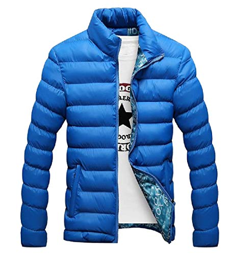 Zip Sapphire MogogoMen Coat Blue Slim Thicken Jacket Lightweight Casual Warm Fit Full v0Cvq