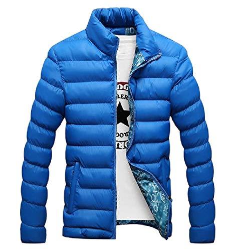 Giacca Cappotto Zaffiro Leggera Zip Full Mogogomen Slim Fit Casuale Blu Addensare Caldo SYxxwqOzT