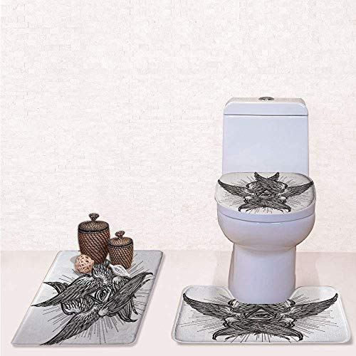 Print 3 Pcss Bathroom Rug Set Contour Mat Toilet Seat Cover,All Seeing Eye of Providence Hand Drawn Vintage Style Winged Angel Seraphim Inspired Decorative with Black White,decorate bathroom,entran