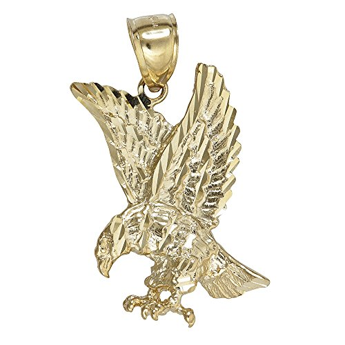 14K Yellow Gold Eagle In Flight Dangling Pendant (Gold Pendant Eagle Solid 10k)