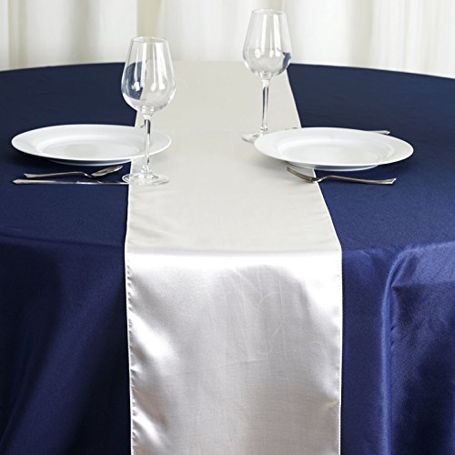 BalsaCircle 10 pcs 12 x 108 inch Ivory Satin Table Runners Wedding Table Top Party Supplies Reception Linens Decorations