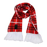 Warm Scarf Fringed Speaker FoYoung Neck Warmer Wireless Stereo Headphone Hands free Sleep Headset Sports Scarf for Men Women, Washable,Red Lattice