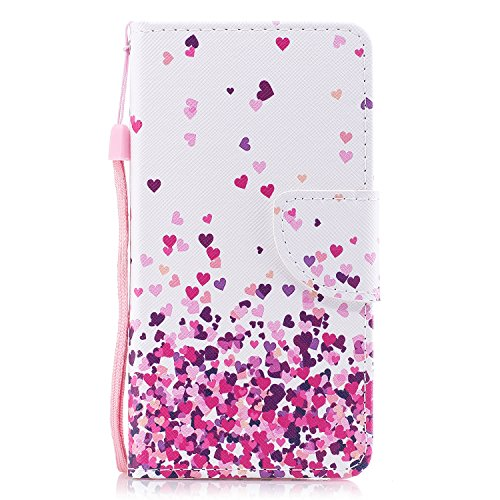 Funda Huawei Y6 II , Funda Huawei Honor 5A, E-Lush Suave Flip Libro de PU Cuero Leather Bolso para Huawei Y6 II / Honor 5A 5.5 Alta Calidad Cuero Libro de Flexible Durable Caja con TPU Silicona Cover Pequeño amor rosado