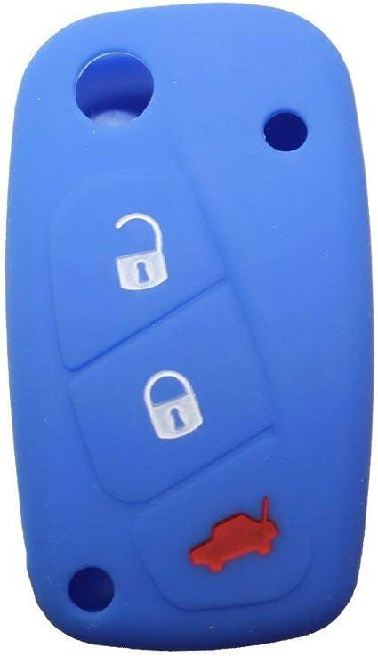 Housse De Clé Silicone Fiat 3 Boutons Couleur Bleu