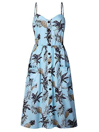 ECHOINE Women Sling Blue Pineapple Floral Beach Dress Plus Size Slim Waist ()