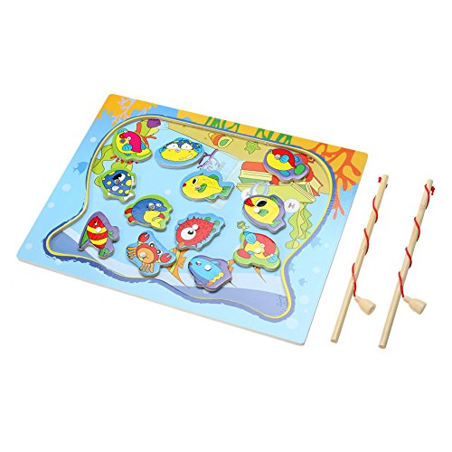 Baby Magnetic Fishing Game Board Wooden Jigsaw Puzzle Educational Toys - 8