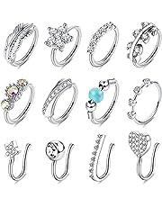CASSIECA 12 STKS Nep Neus Ringen Hoop Roestvrij Staal Faux Neus Piercing Sieraden voor Vrouwen CZ Inlaid Clip Op Neus Ring voor Niet-Piercing 20G