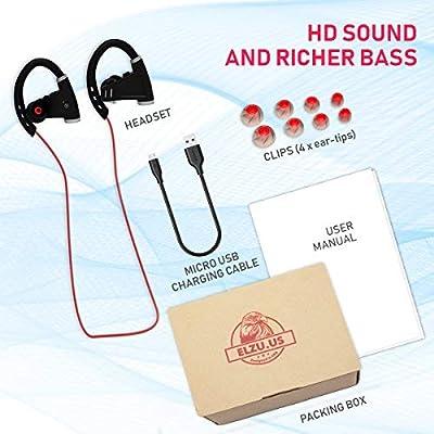[Newest 2018] Bluetooth Headphones w/ 12+ Hours Battery - Best Wireless Sport Earphones w/Mic - IPX7 Waterproof Music in-Ear Earbuds for Gym Running Workout for Men, Women