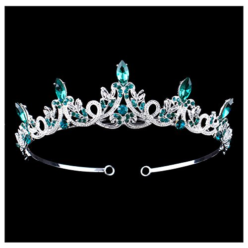 Santfe Bridal Wedding Prom Rhinestone Crystal Crown Hairband Headband Tiara Hair Jewelry for Womens Girls (Silver Green)