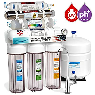 Express Water 11 Stage UV Ultraviolet + Alkaline + Reverse Osmosis Home Drinking Water Filtration System 100 GPD RO Membrane Filter - Deluxe Faucet - Clear Housing - Pressure Gauge