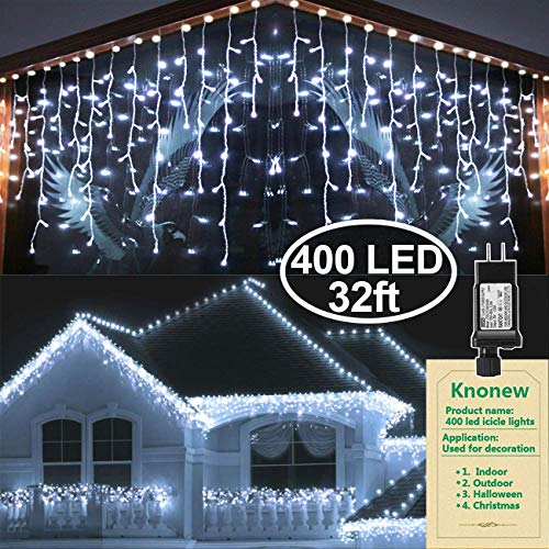 KNONEW LED Icicle Lights, 400 LEDs, 32ft, 8 Modes, Curtain Fairy Light with 75 Drops, Clear Wire LED String Decor for Christmas/Thanksgiving/Easter/Halloween/Party Backdrops Decorations (Cool White) (Light Sale Walmart Christmas)