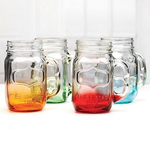 Mason Glasses Mixed Colors Set