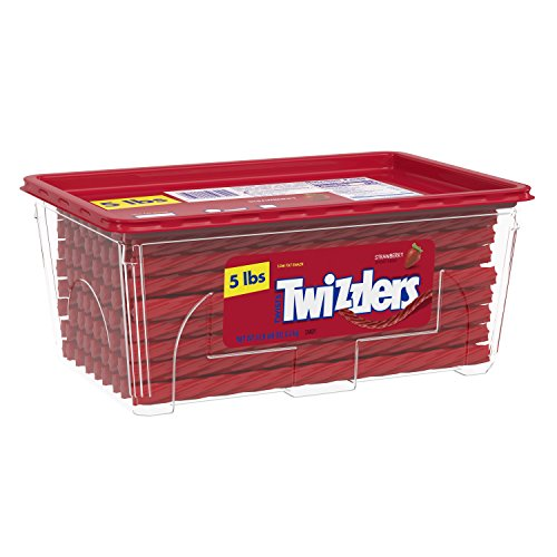 Twizzlers Twists, Strawberry Flavored Licorice Candy, 5 Pound Container -