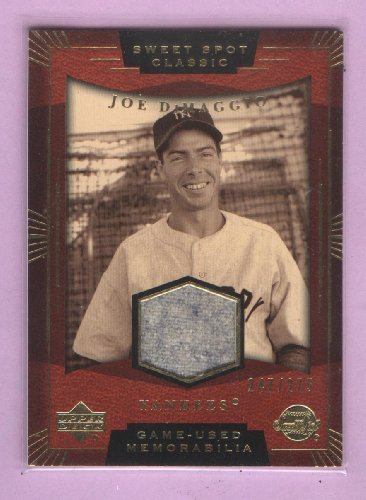 2004 Sweet Spot Baseball (Joe DiMaggio 2004 Upper Deck Sweet Spot Classics Baseball Game Worn Jersey Relic Card #SS-JD New York Yankees Hall of)