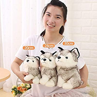 XSLY Cute Simulation Husky Doll Plush Toy Puppy Soft PP Cotton Kids Playmate Ragdoll Creative Small Dog Baby Soft Toys Girl Couples Puppet Gift (Color : A, Size : 20cm): Home & Kitchen