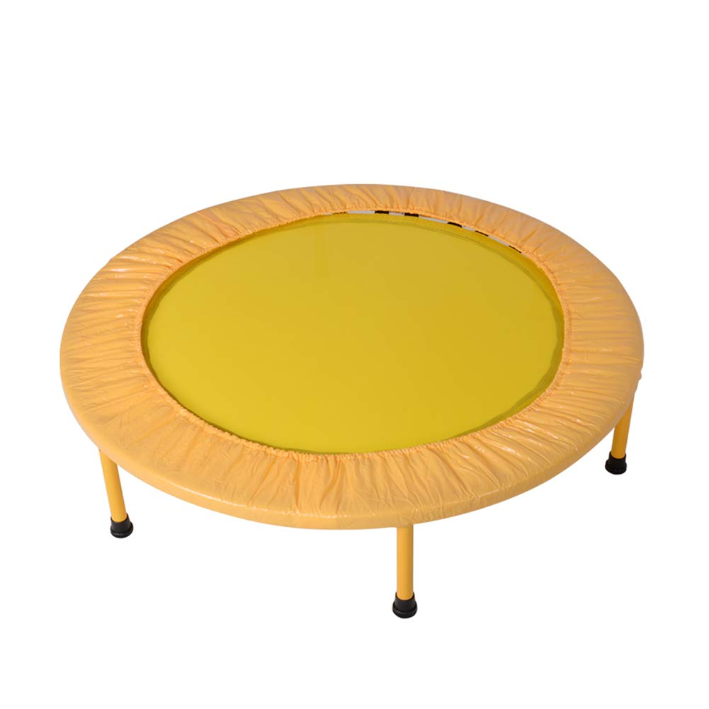 40 Zoll Trampolin mit Sicherheitsunterlage für Indoor-Gartentraining Cardio-Training Tragbare Freizeit-Trampoline Gelb